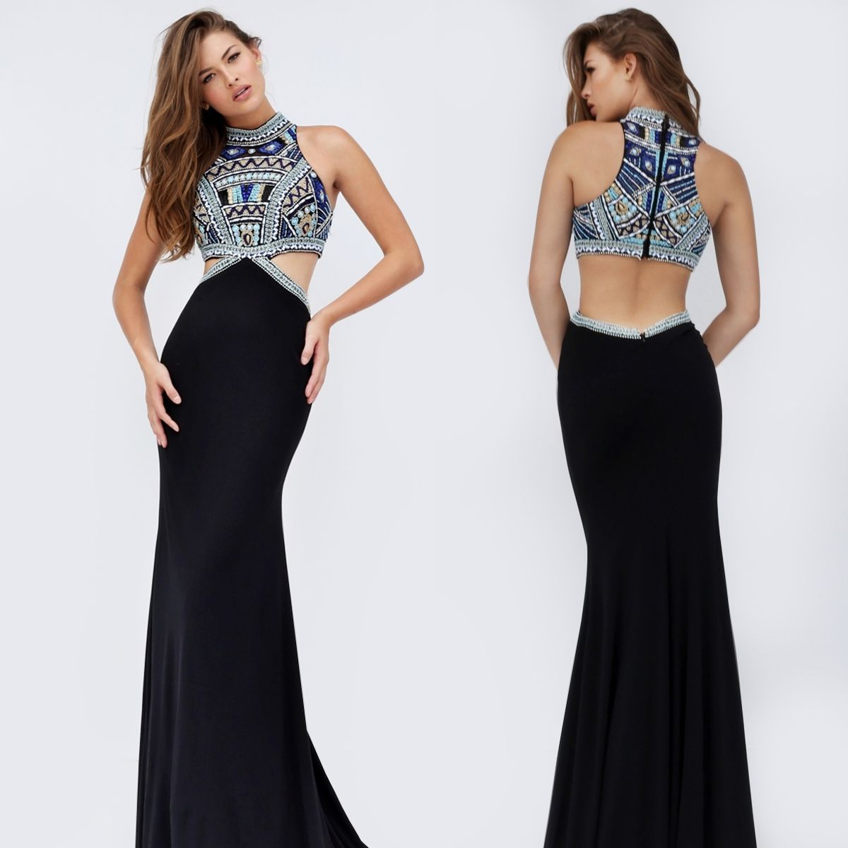 Mock two piece high neck black sherri hill gown dresses