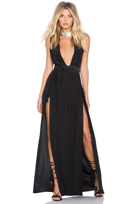 Olcay gulsen suc x revolve double slit maxi dress in black