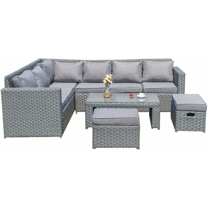 Argos Home 8 Seater Rattan Effect Corner Sofa Set Grey 619 In 2020 Rattan Corner Sofa Corner Sofa With Storage Grey Rattan Corner Sofa