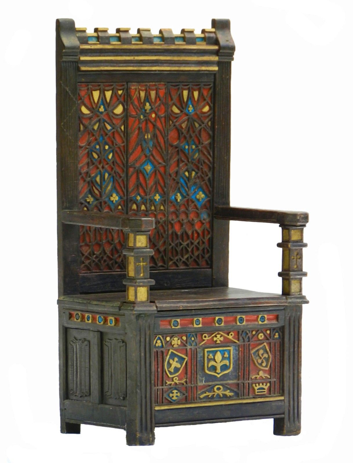 Arts & Crafts Throne Chair Monks Bench Gothic Poly tryst damour