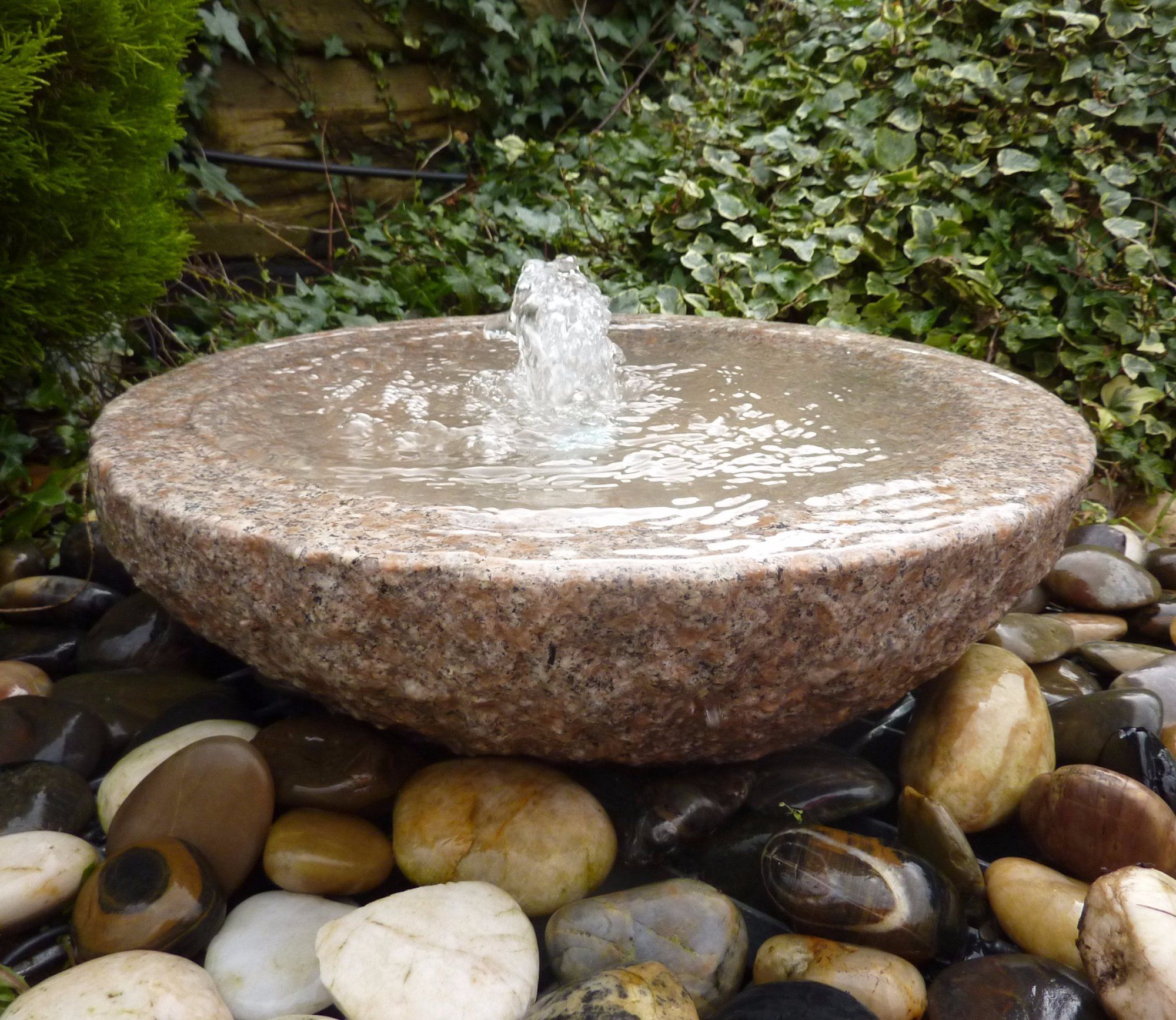 Stone Water Fountain Outdoor.Babbling 50cm Grey Bowl Feature Water Features In The