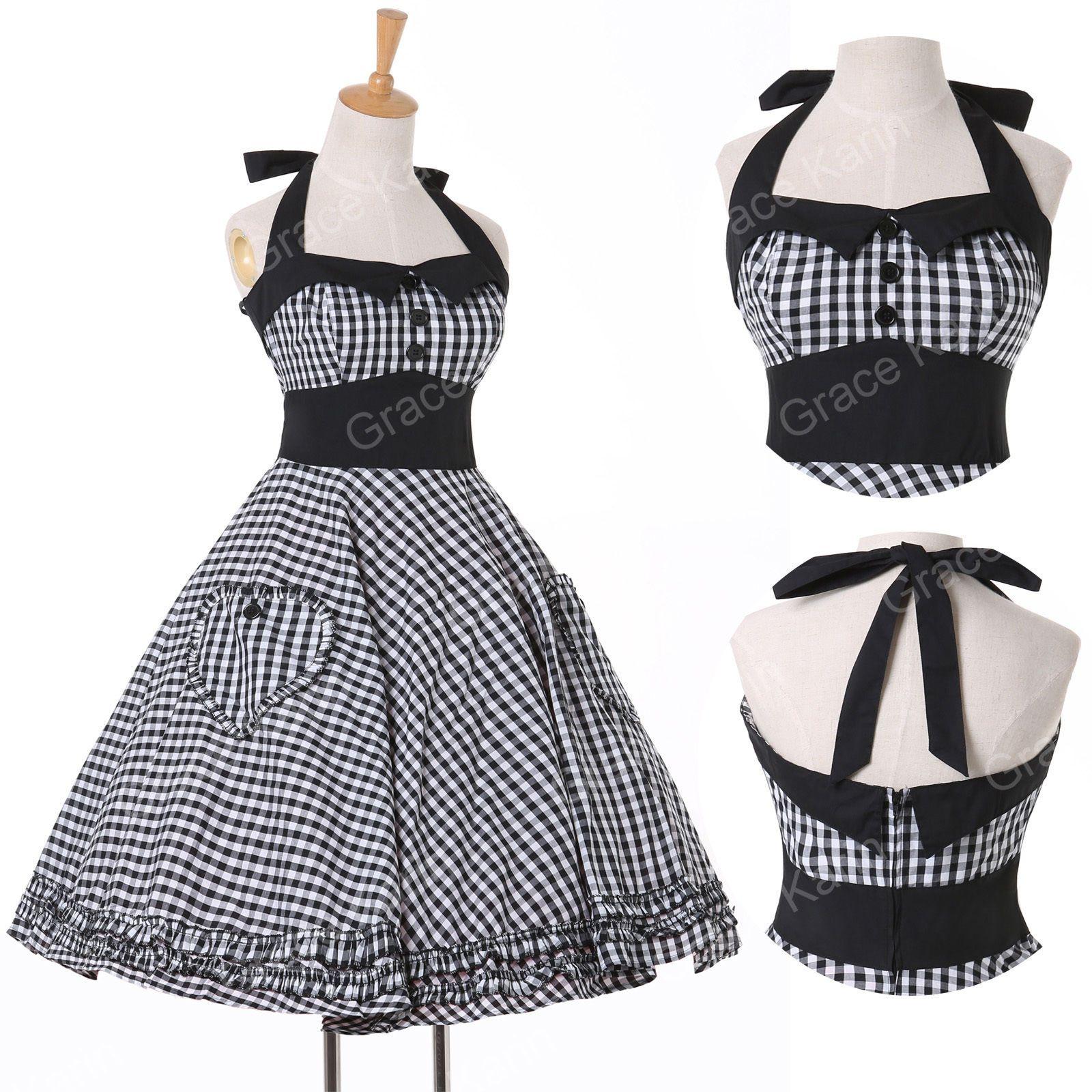Vintage Année 50 à années 1950 rockabilly rétro année swing pin up robe de soirée ÉtÉ
