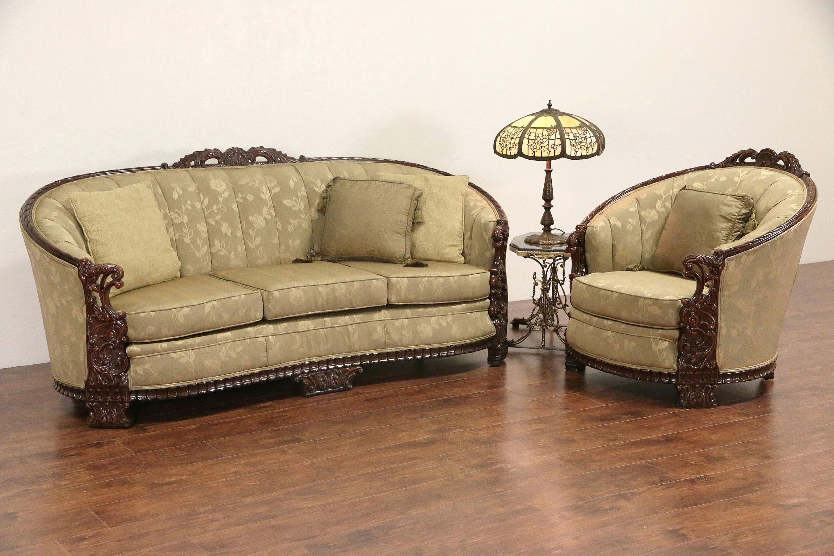 Carved Sofa Club Chair Set 1930 S Vintage Recent Upholstery Carved Sofa Furniture Creative Furniture