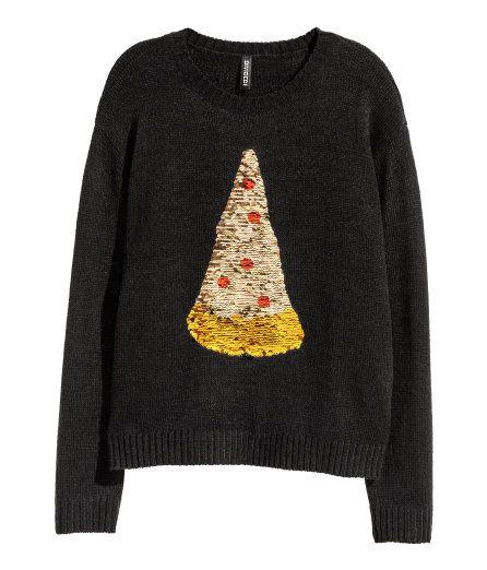 Zwarte Kersttrui.Kersttrui Met Pailletten Zwart Pizza Dames H M Nl Top