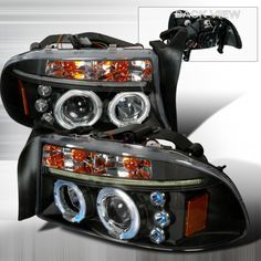 97 04 Dodge Dakota 98 03 Durango Halo Led Projector Headlights Black Pair Dodge Dakota Led Halos Projector Headlights