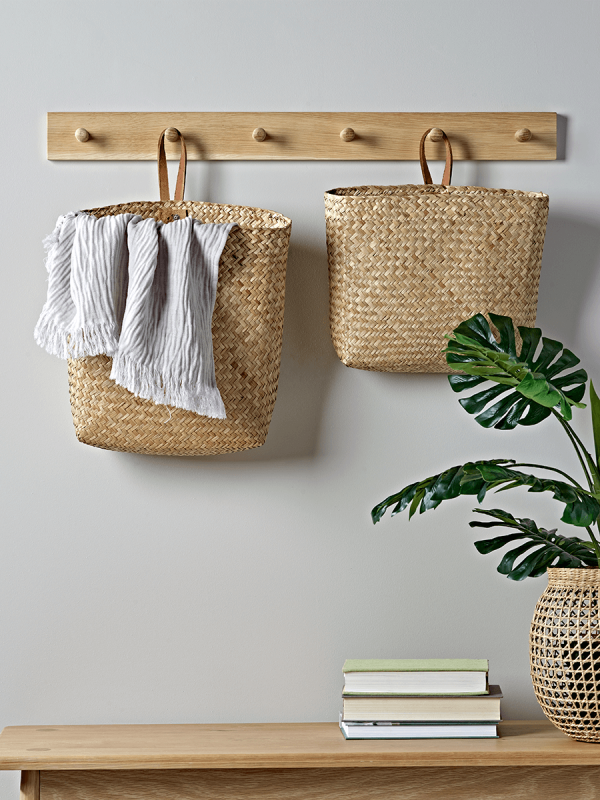 New Two Leather Amp Seagrass Hanging Baskets Hanging Basket Storage Wall Basket Storage Hanging Storage