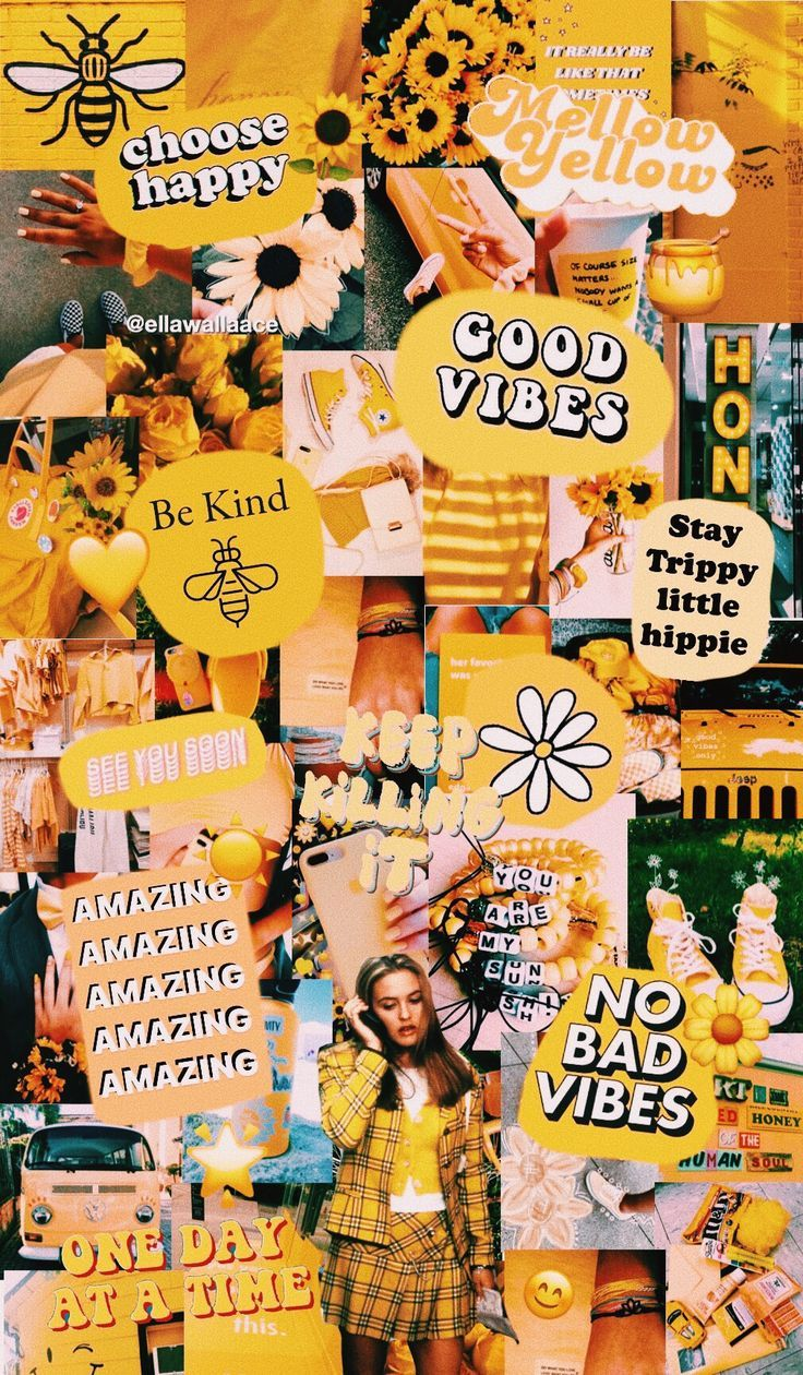 yellow collage Aesthetic iphone wallpaper, Iphone