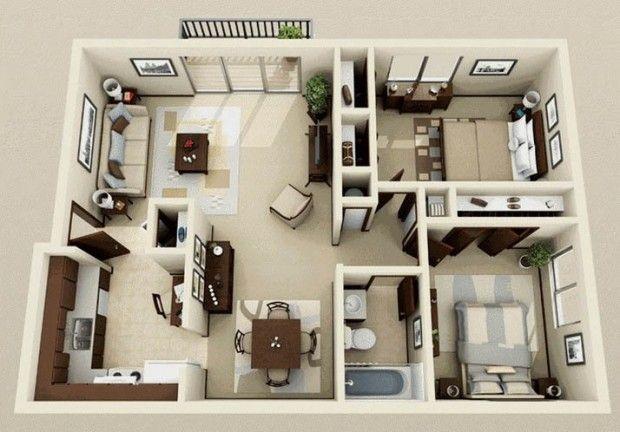 2 bedrooms floor plan House Plans Pinterest Bedrooms