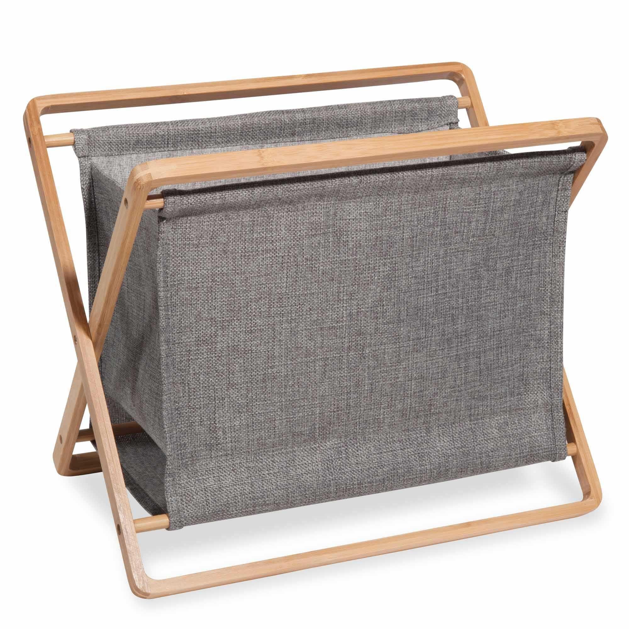 Porte Revues En Bambou Et Tissu Gris Alejandro Magazine Holders Grey Fabric Bamboo