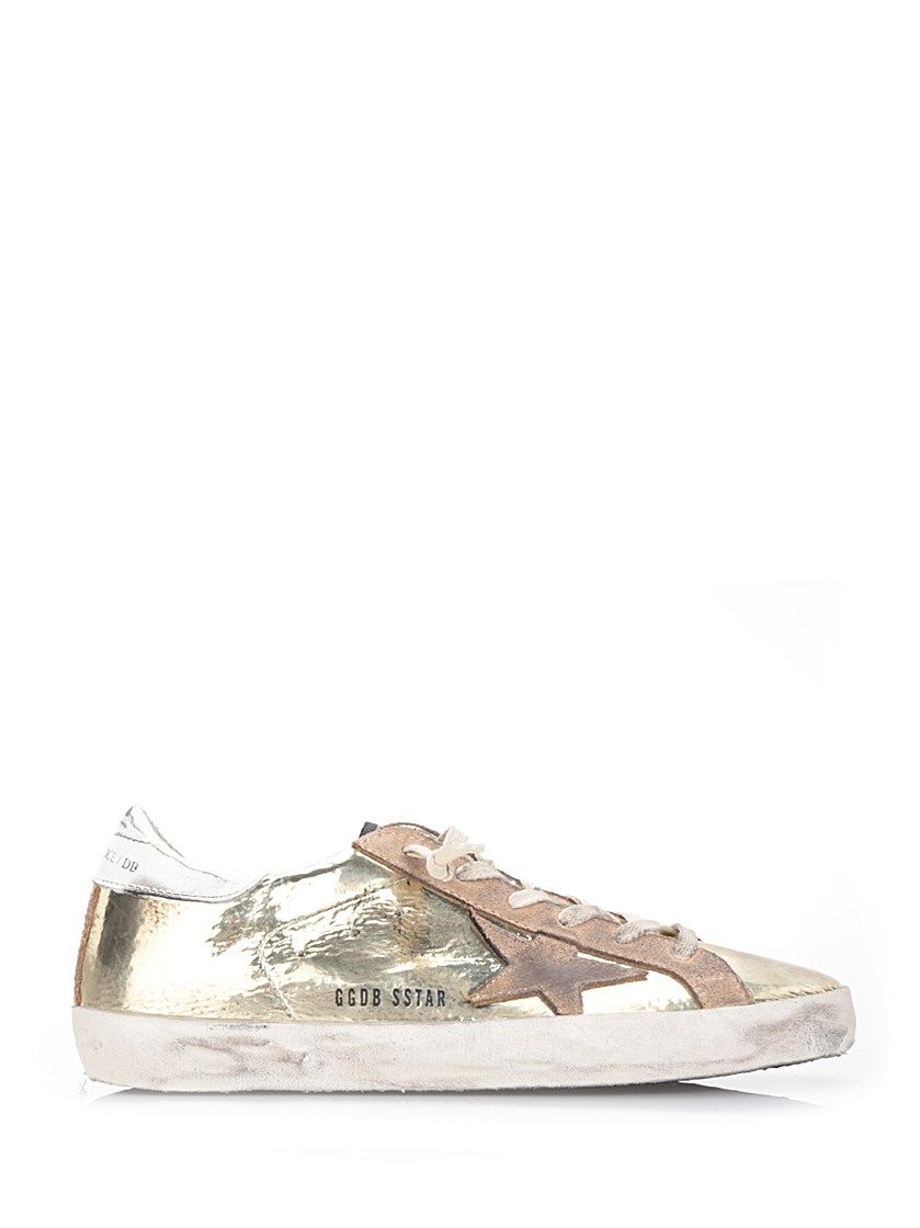 GOLDEN GOOSE Gold Leather 'Super Star' Sneakers. #goldengoose #shoes #sneakers