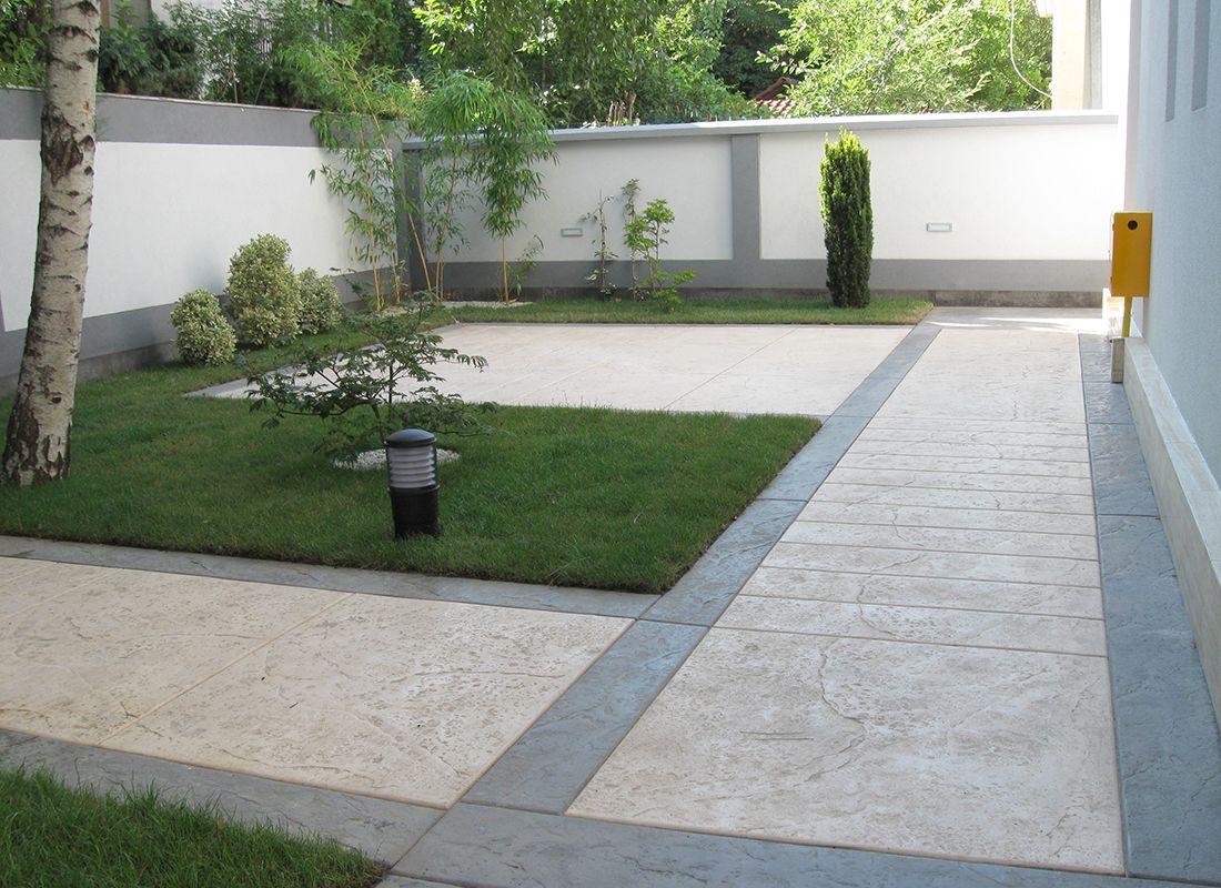 Le beton imprim est utilis pour votre terrassement for Amenagement entree garage