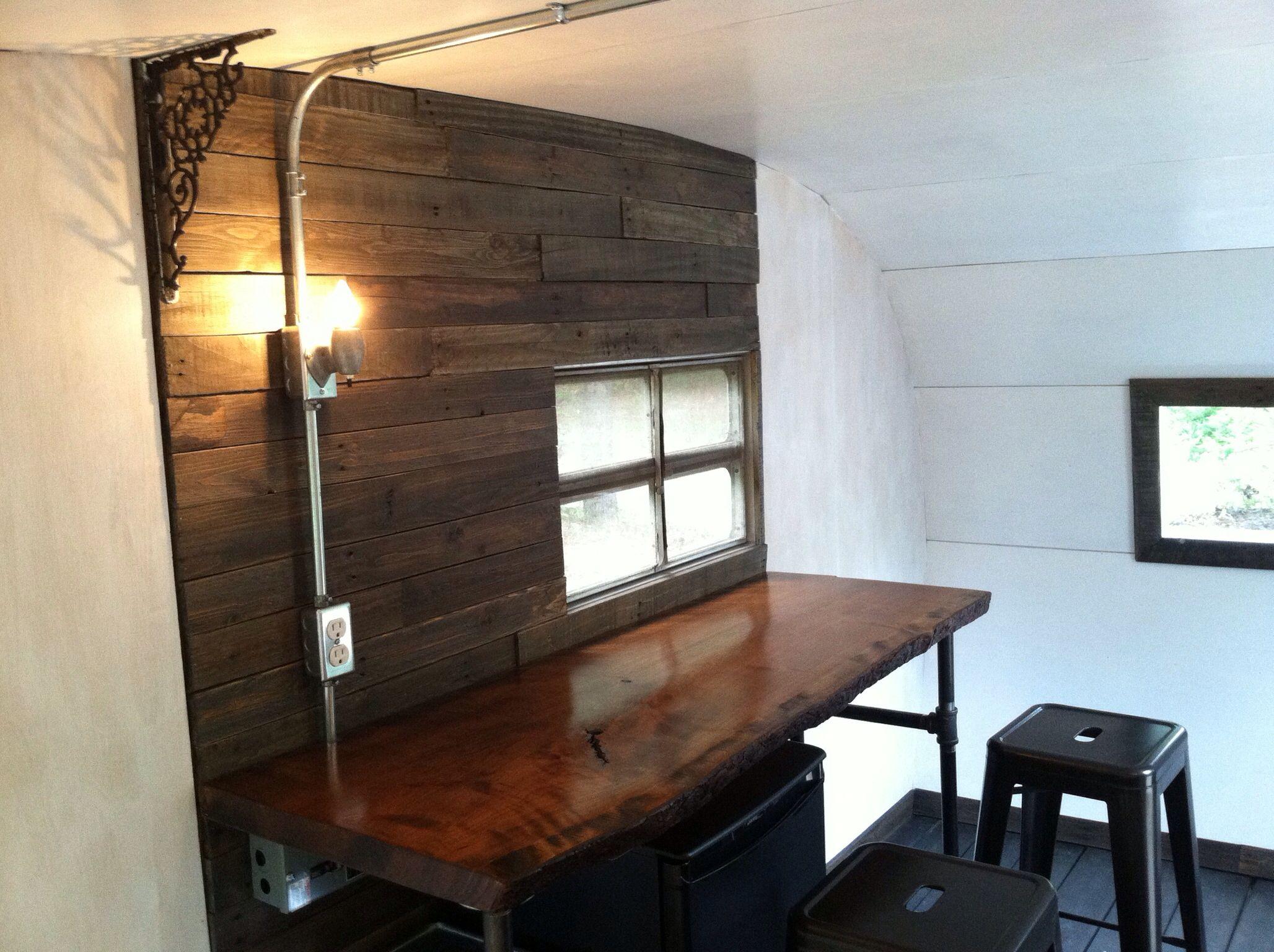 Vintage Camper Interior Renovation Pallet Wall Raw Edge Wood Slab Board Counter Rustic