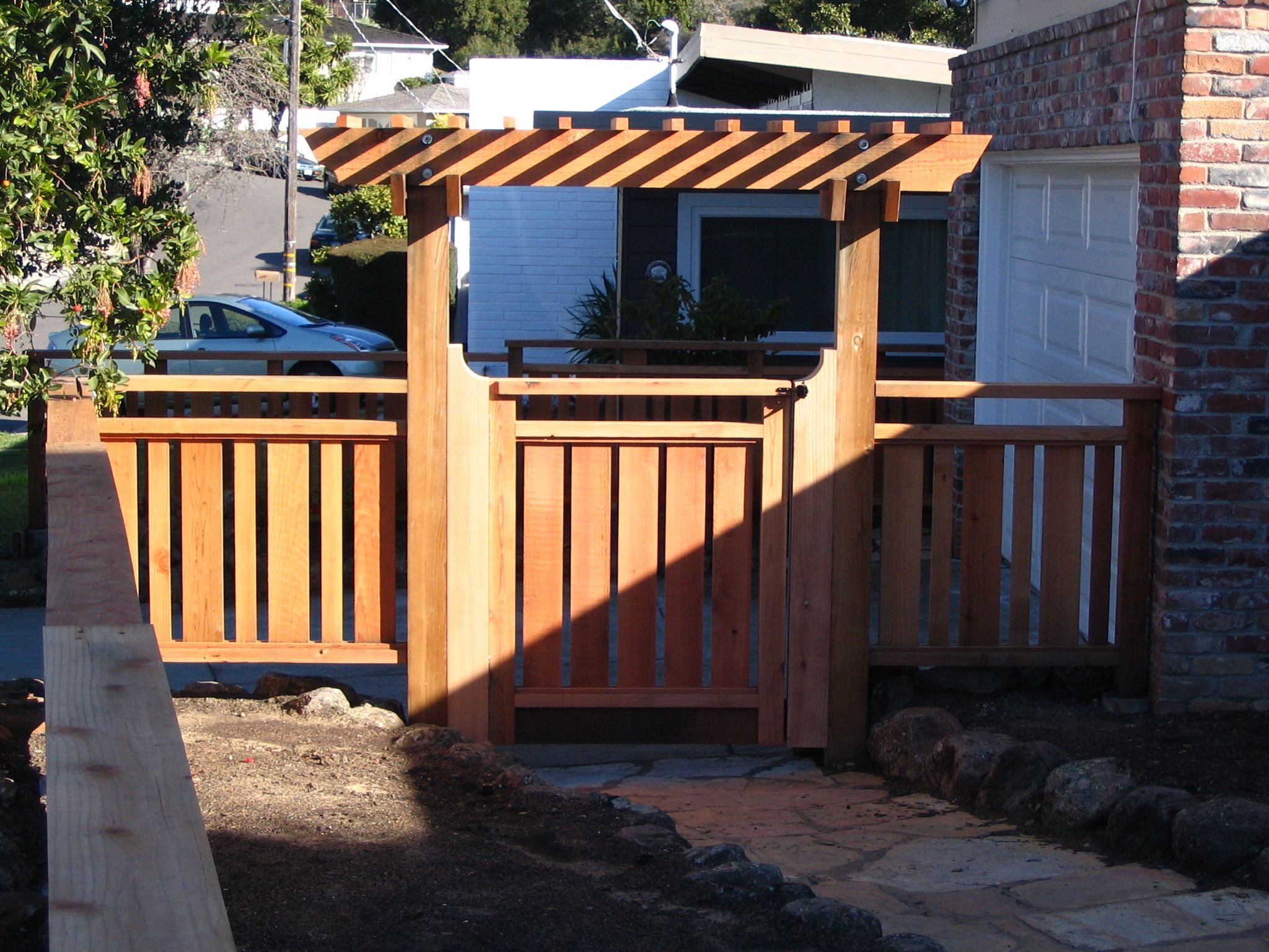 Grand Outside Pergola Gates With Wooden Fence Ideas As