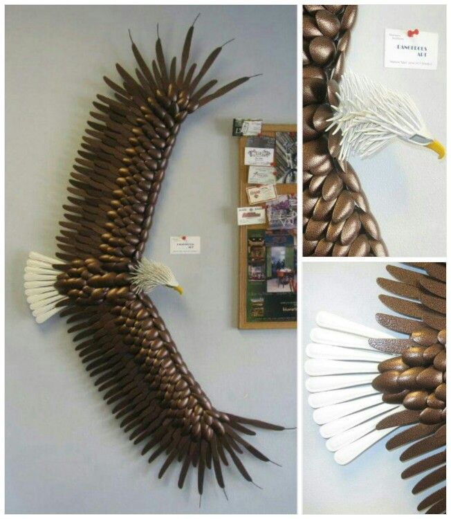 Bald eagle made with plastic silverware by dangerous art for Crafts with plastic spoons and forks