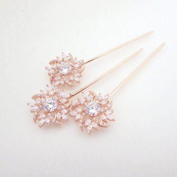 Rose Gold Hair Pin Bridal Hair Pins Rose Gold Wedding Hair Etsy Gold Hair Accessories Wedding Gold Hair Pin Crystal Hair Pins