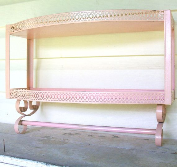 Vintage 2 Tiered Pink Metal Wall Shelf w/ Towel Bar | Metal walls ...