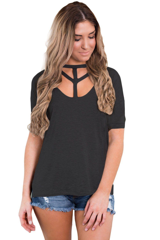 090e59671cc2f7 Black Cutout Choker Detail Short Sleeve T-shirts | diy | Cutout ...