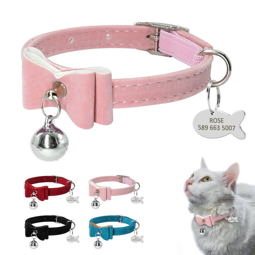 Bowknot Cat Collar With Bell Personalized Id Tag In 2020 Cat Collars Puppy Collars Cat Supplies