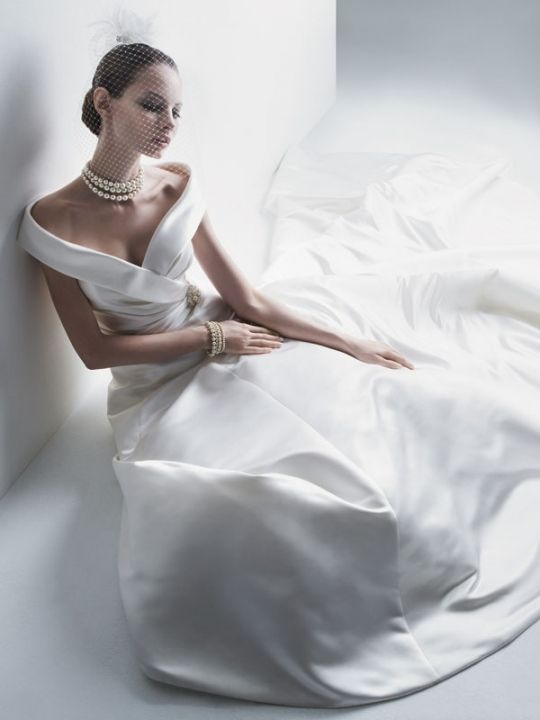 Elegant Off The Shoulder Beads Pin Chapel Train Satin Bridal