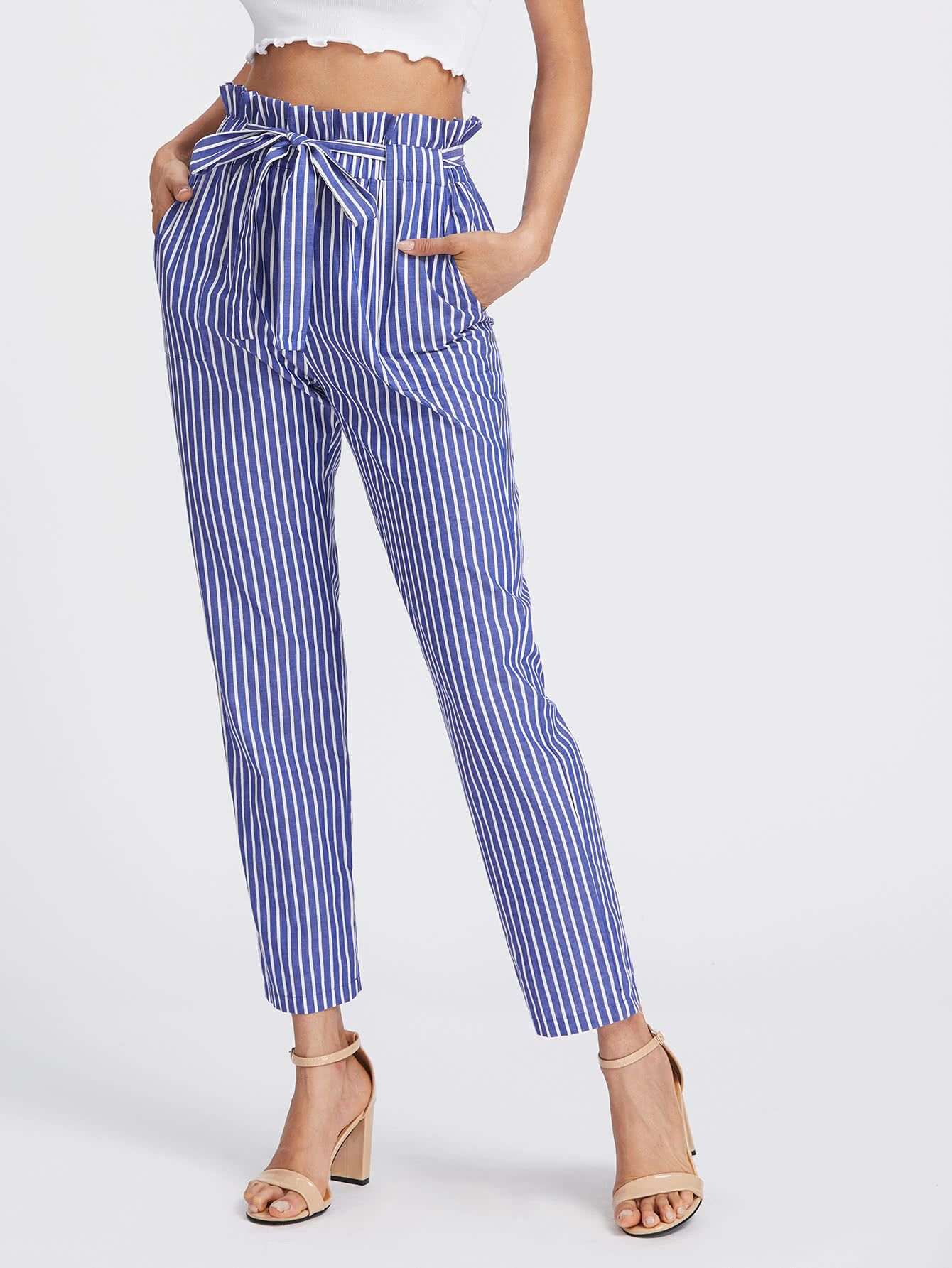 c710f9d3bb Shop Self Tie Frill Waist Pinstripe Pants online. SheIn offers Self Tie  Frill Waist Pinstripe Pants & more to fit your fashionable needs.