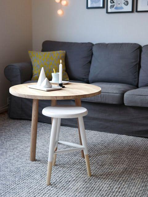 Design og lag ditt eget sofabord. DIY rundt sofabord i eik.