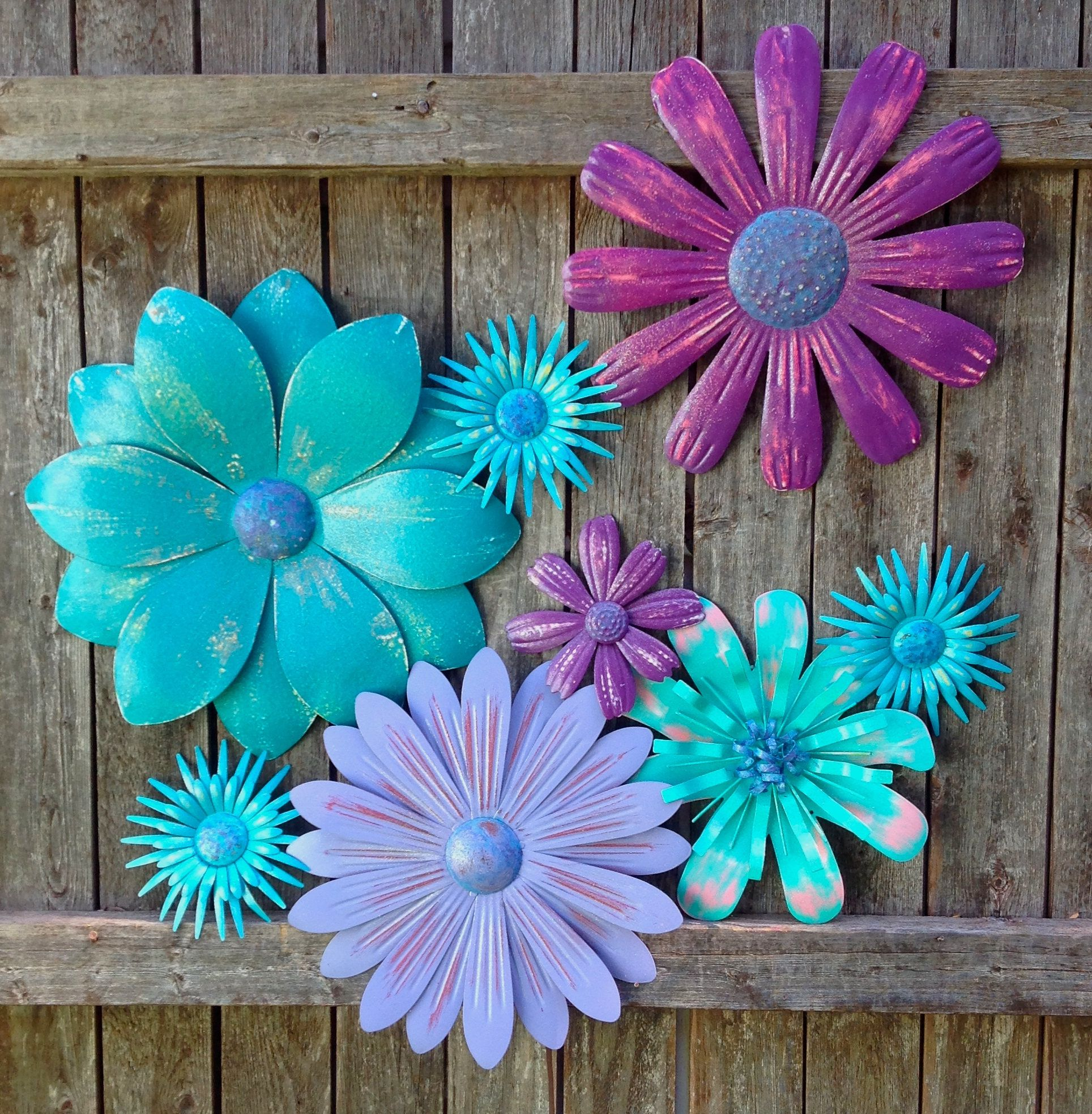 Turquoise Purple Passion Metal Fence/Wall Flowers 9 Pc
