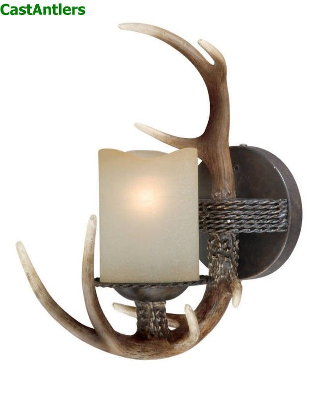 1 light cast antler wall light rustic lighting antlers and