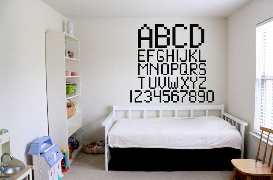 Wall vinyl sticker decals mural room design bedroom alphabet letters numbers count school nursery bo2848 by