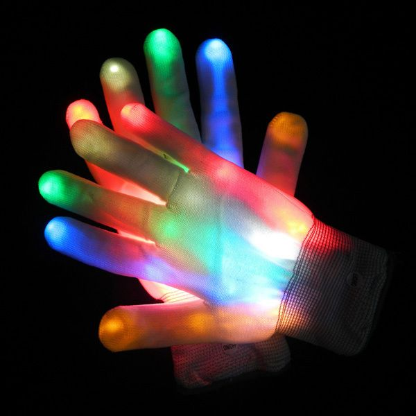 5pairs/lot LED Flashing Gloves Colorful Finger Light Glove Christmas - halloween club decorations