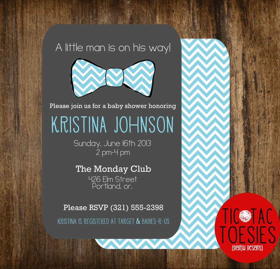 Little Man Baby Shower Invitation Bow Tie Baby by T3DesignsCo ...