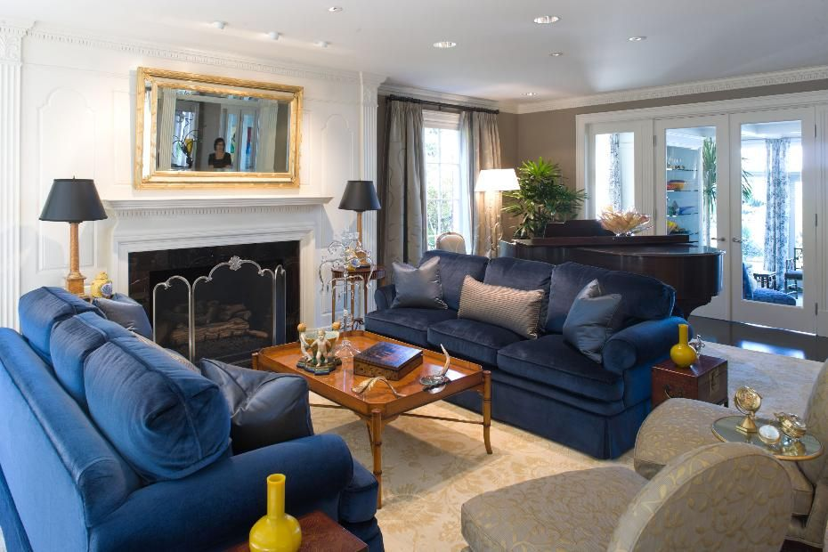 Best Traditional Living Room With Fireplace And Blue Velvet 400 x 300