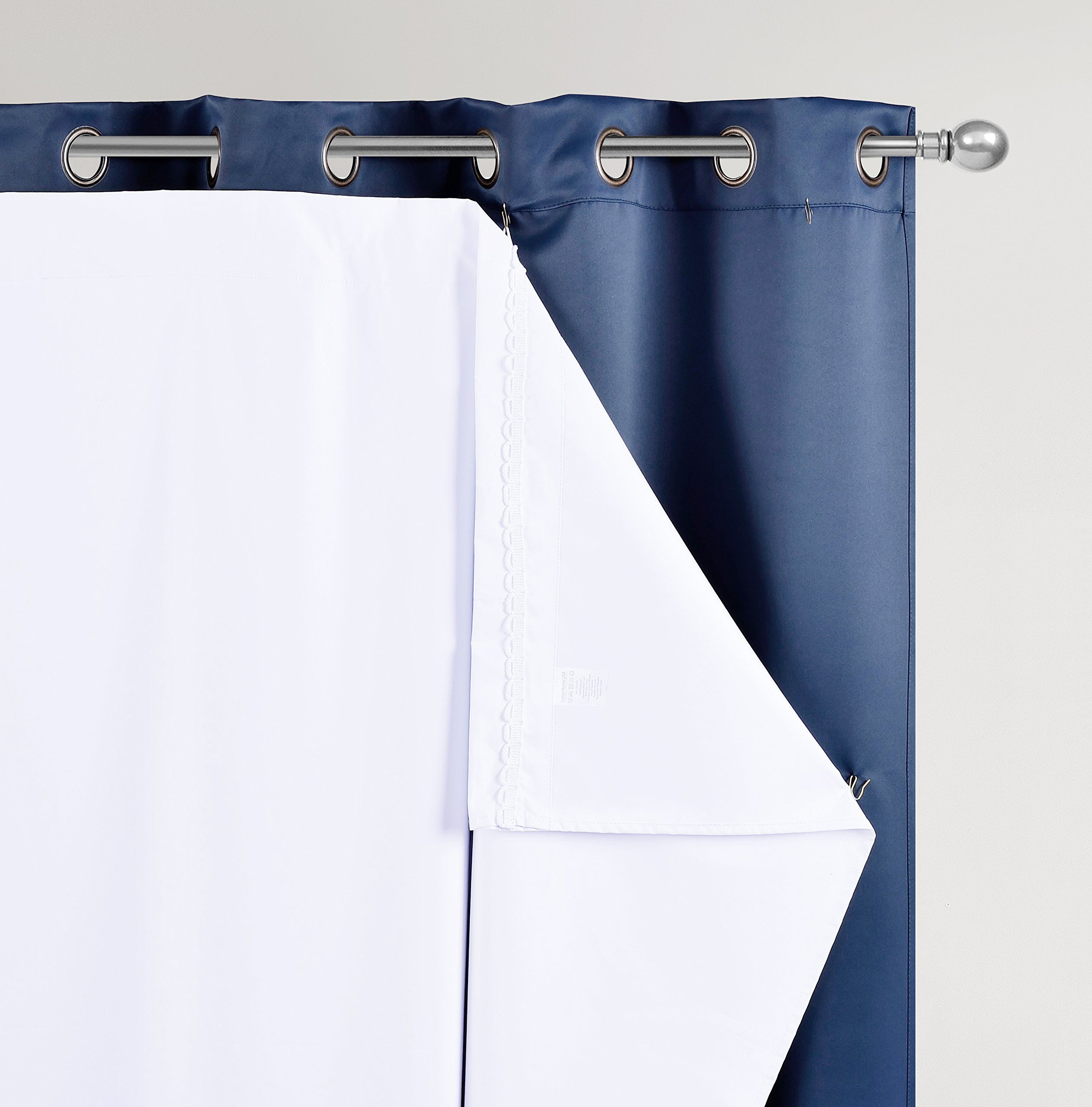 Bhu Thermal Insulated Blackout Curtain Liner For 108 Inch Curtainsblackout One Panel 48w By 101l Inches Hooks Included Click Image More