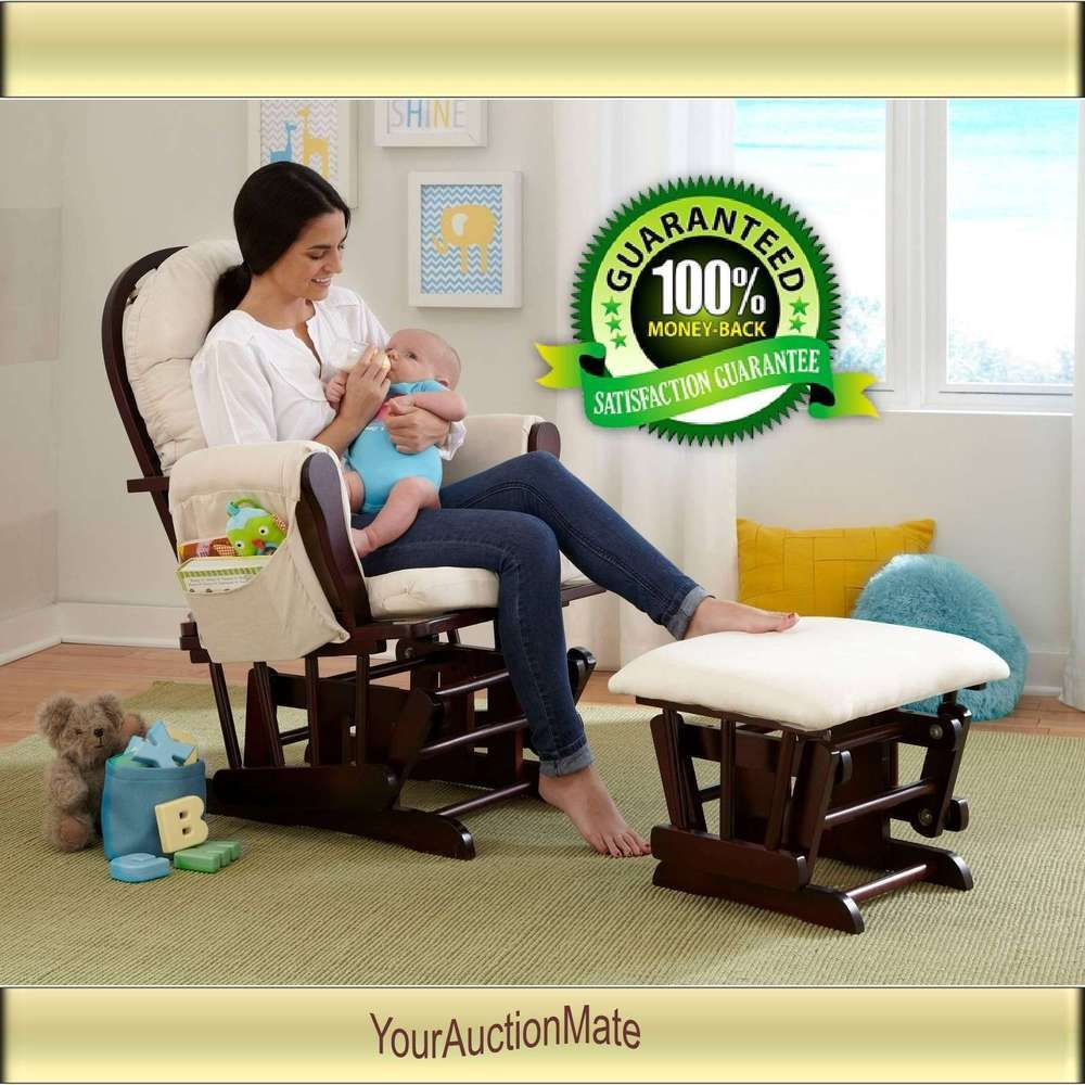 Nursery Baby Glider Rocker And Ottoman Beige Cushions Espresso Finish Chair Set Storkcraft