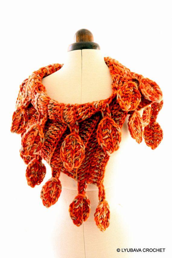 PATRÓN de ganchillo bufanda, bufanda del gruesa, otoño hojas ...