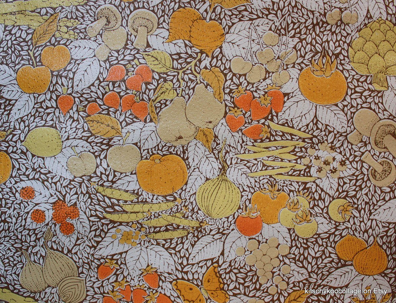Vintage kitchen wallpaper patterns - 1970 S Vintage Retro Wallpaper Kitchen Fruit And Vegetable Collage Brown 10 00 Via Etsy