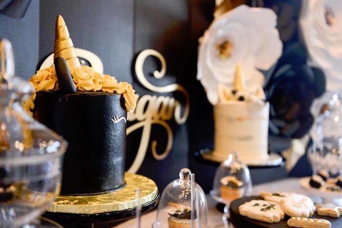 Elegant Black And Gold Unicorn Party Black Unicorn Cake Unicorn