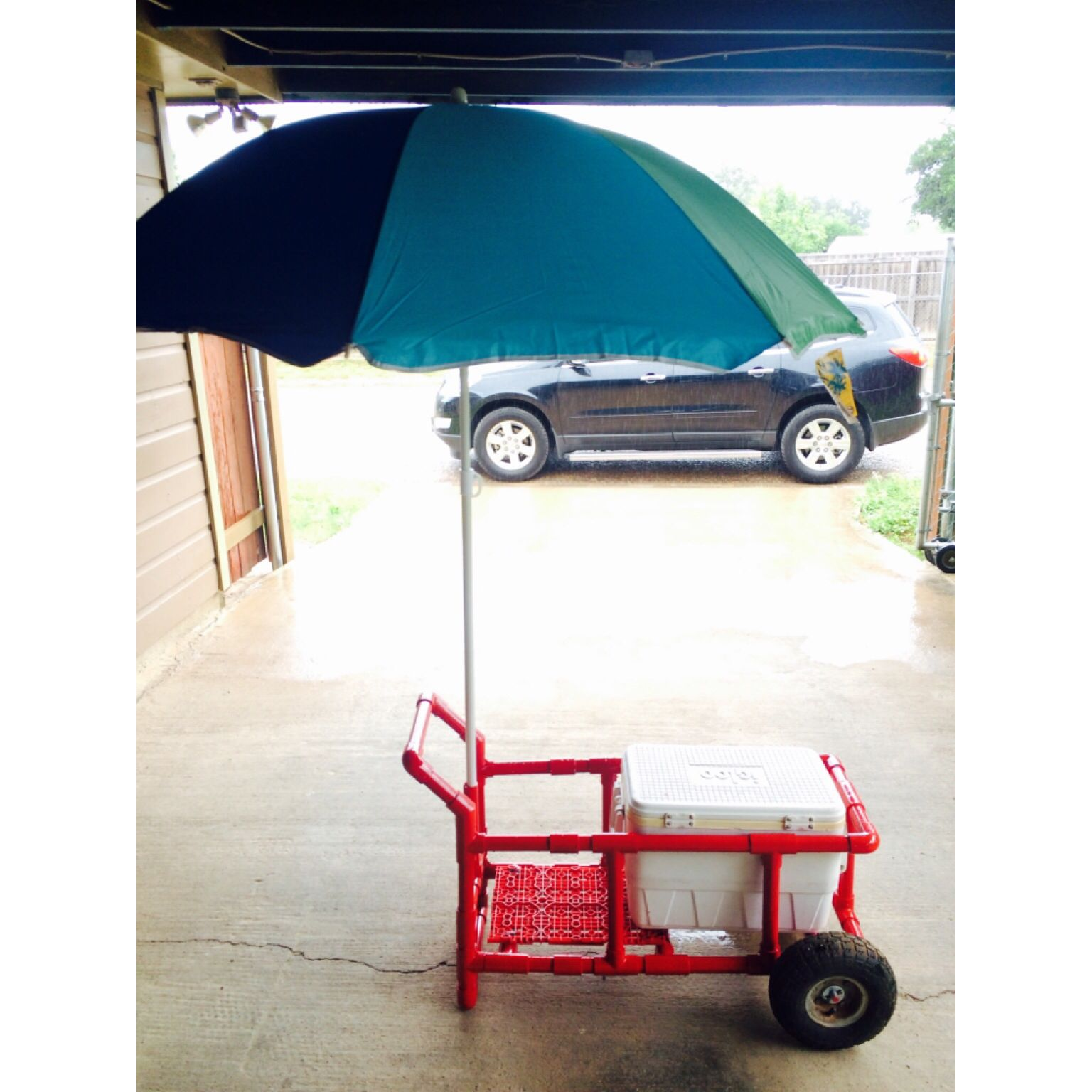 Diy pvc pipe project pvc beach cart this would be cool for Pvc fishing cart