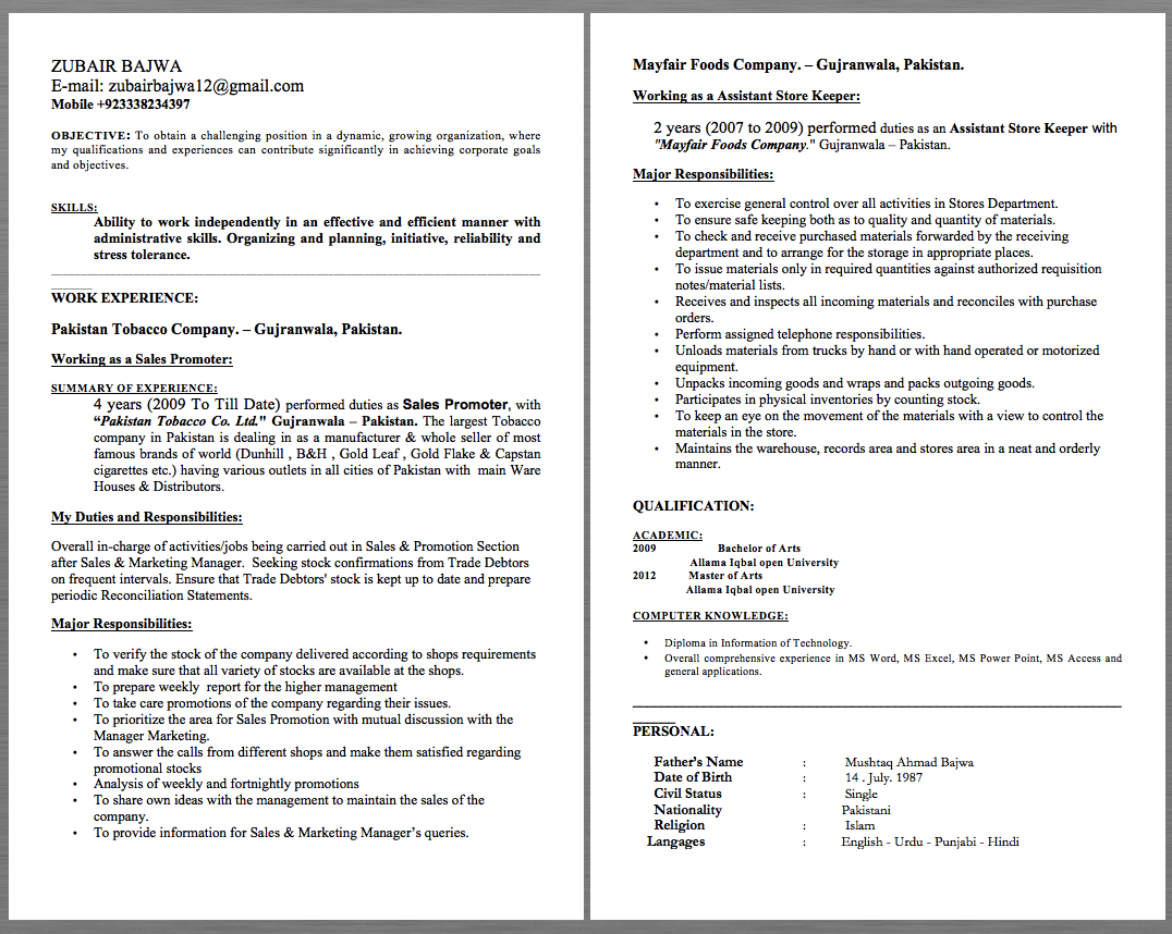 Mobile Product Manager Resume Assistant Store Keeper Resume Examples Zubair Bajwa E Mail