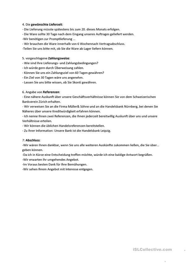 Geschaftsbriefe B1 B2 Beruf Anfrage Teil 2 In 2020 Daf Geschaftsbrief Briefe Schreiben