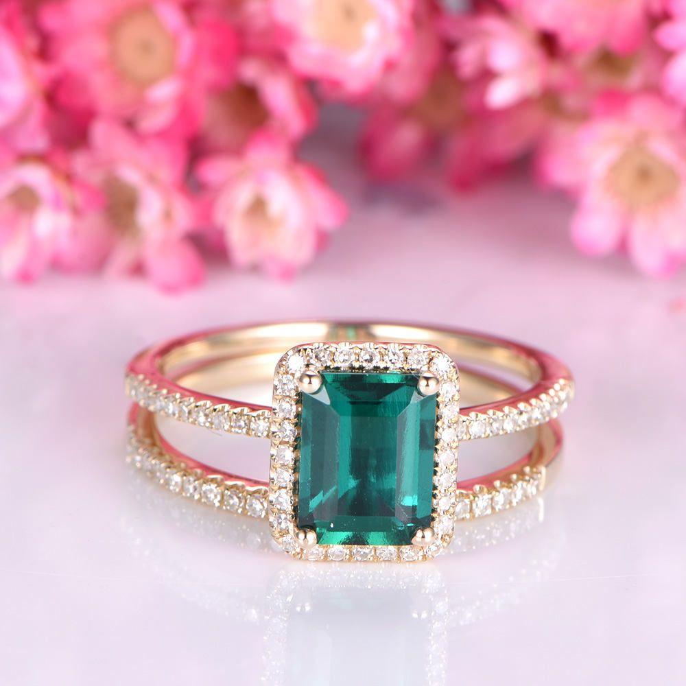 Treated emerald engagement ring set 6x8mm emerald cut green stone ...