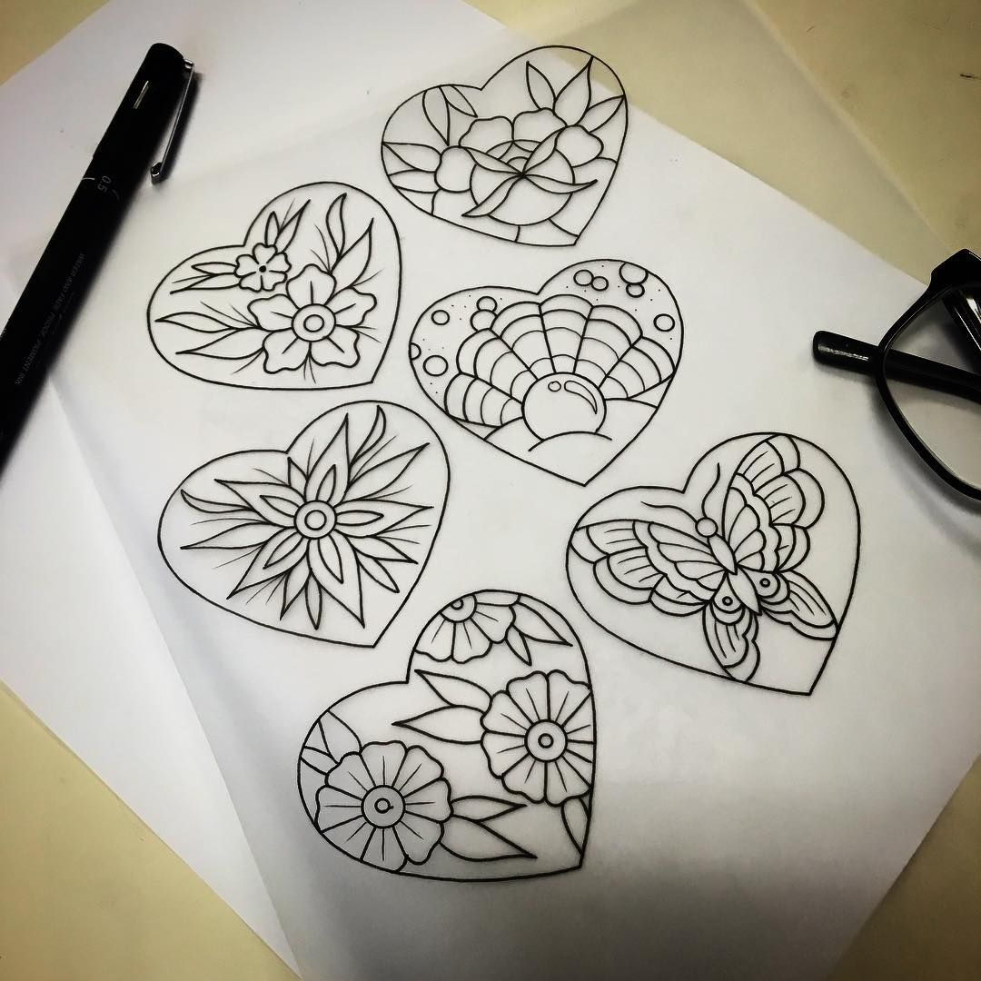 Heart tattoo flash sheet with images tattoo flash