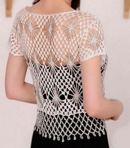 bolero-au-crochet-avec-motif-2   Blouson crochet   Pinterest ...