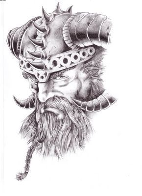 Warrior Viking Head Tattoo Design — Ideas and Designs ...