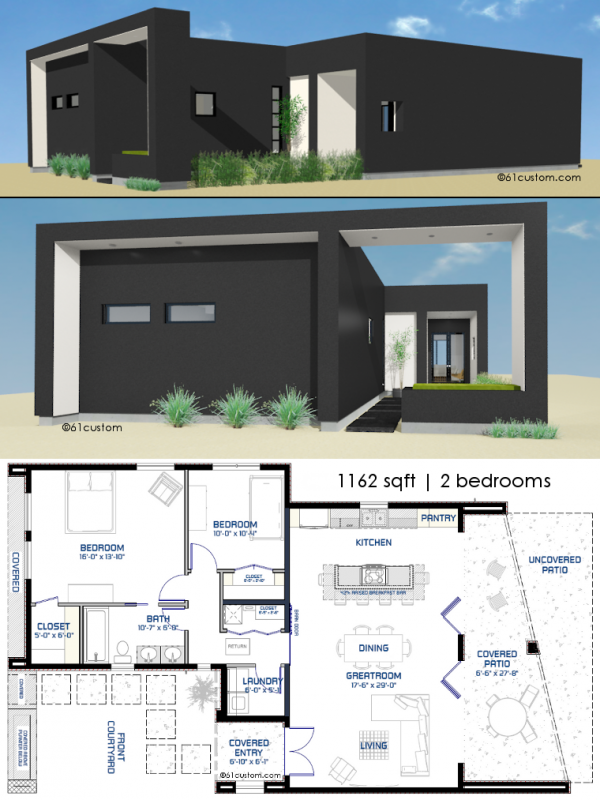 Small Front Courtyard House Plan 61custom Modern House Plans Small Modern House Plans Small Modern Home Modern House Plans