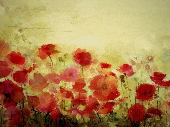 "Poppy field Provence landscape. Canvas Print by Irena Orlov 24x36"""