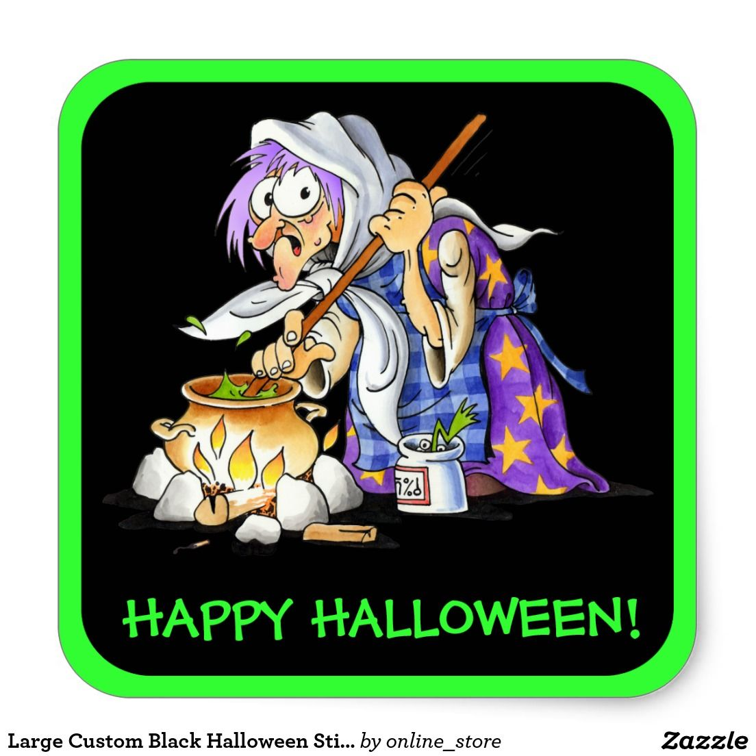 Large Custom Black Halloween Stickers With Witch