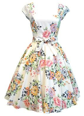 Soft Pink Floral Swing Dress - with floral/green shoes from shoesofprey.com