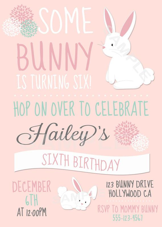 Bunny pink teal personalized birthday party invitation baby girl bunny pink teal personalized birthday party by pinkieforpink filmwisefo