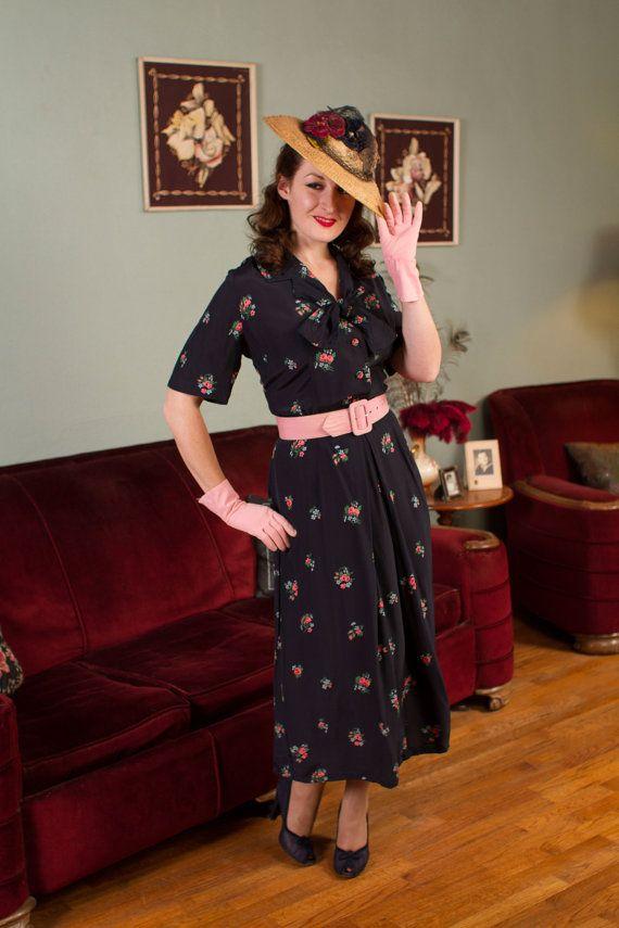 1940s Dress Silky Stars Vintage 40s Dress: Delightful Navy Blue Silky Cold