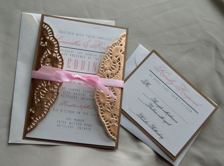 Delightful Making Wedding Cards Ideas Part - 3: Wedding Invitation Ideas Lovely Pink Diy Wedding Invitations Ribbon  Combined With Artistic Floral Gold Laser Cut